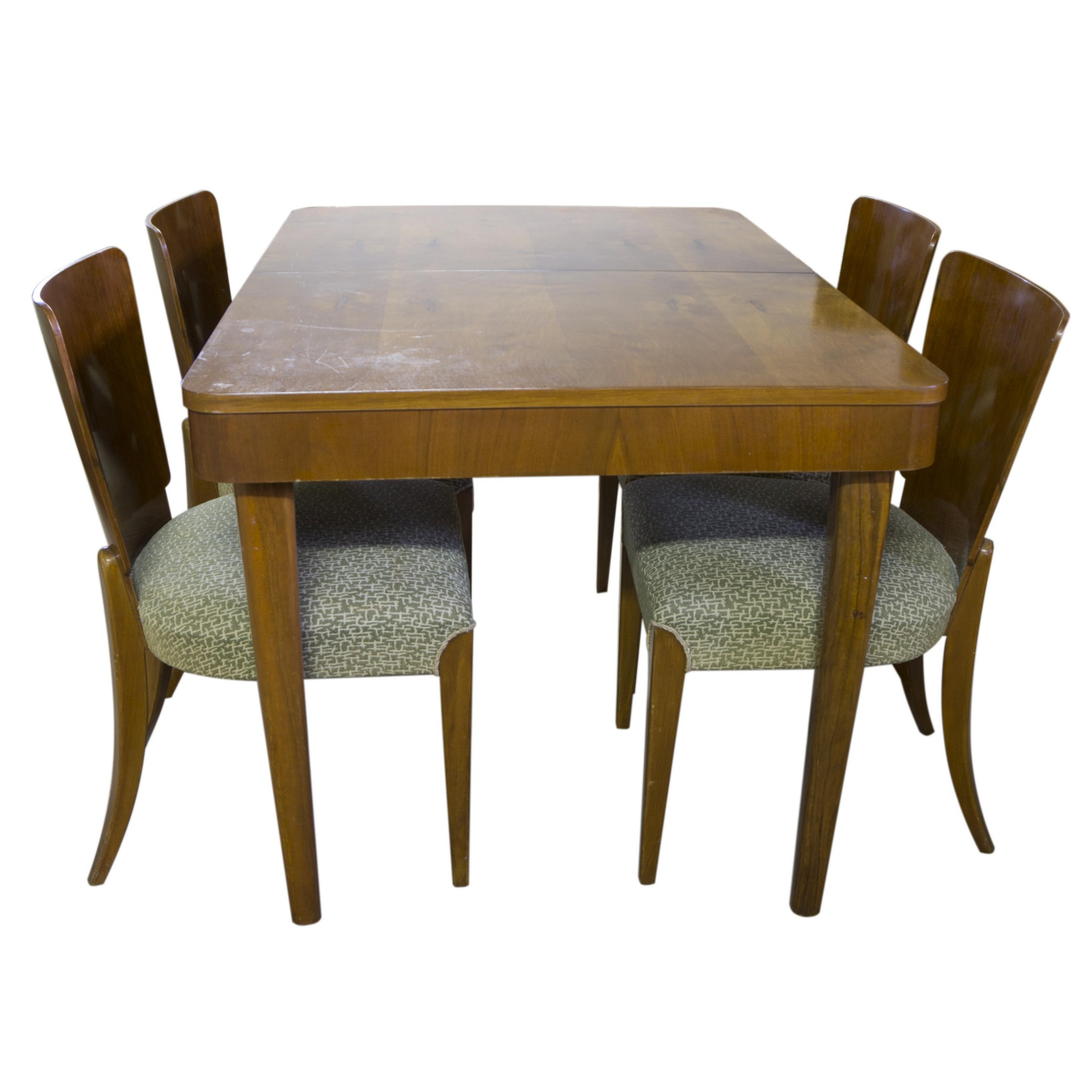 Art Deco Walnut Dining Table With Four