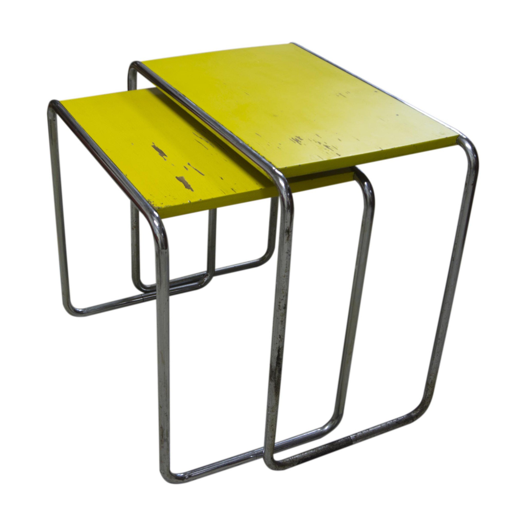 Marcel breuer pair of bauhaus nesting tables b9 1930s lightbox geotapseo Choice Image