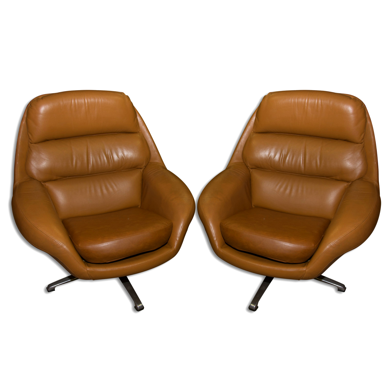 Miraculous Pair Of Scandinavian Swivel Armchairs In Leather 1970S Ibusinesslaw Wood Chair Design Ideas Ibusinesslaworg