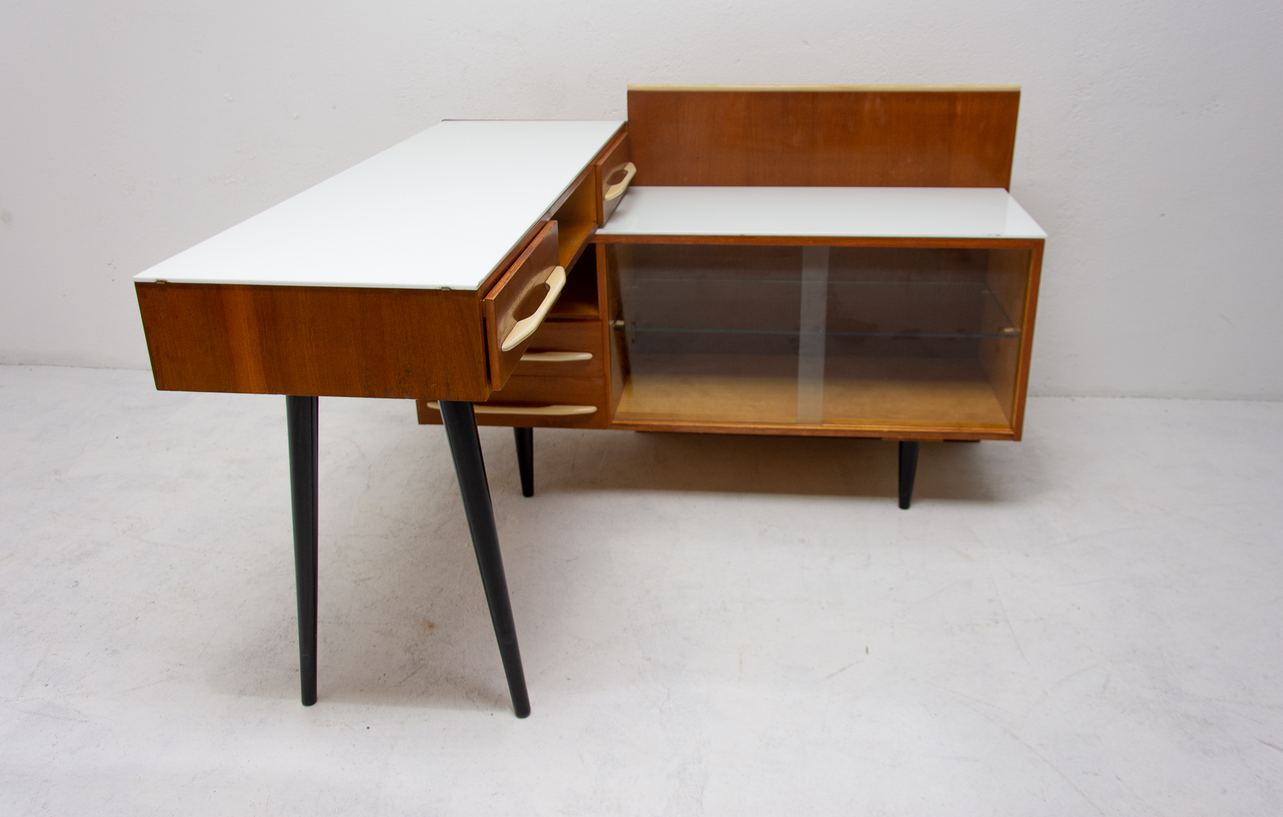 Midcentury Corner Writing Desk With A Small Bookcase By