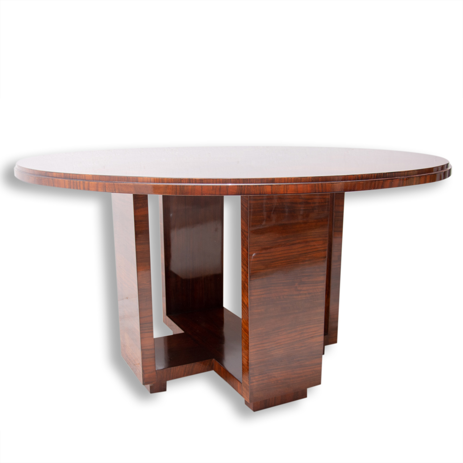 03ba438e224a Art Deco Round Dining Table in Walnut by Vlastimil Brozek, 1930s ...